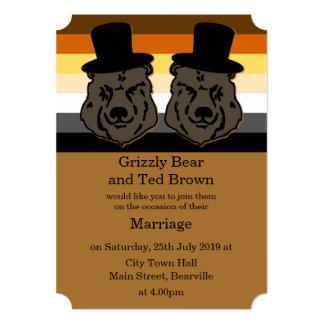 Invitación del boda del oso para los hombres gay