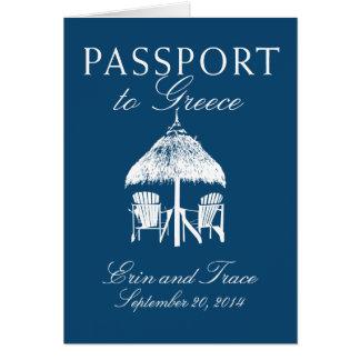 Invitación del boda del pasaporte de Grecia Tarjeta Pequeña