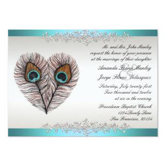 Invitación del boda del pavo real del trullo