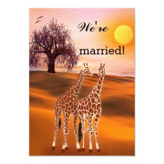 Invitación del boda del poste del parque zoológico invitación 12,7 x 17,8 cm