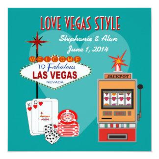 Invitación del boda del trullo del estilo de Vegas