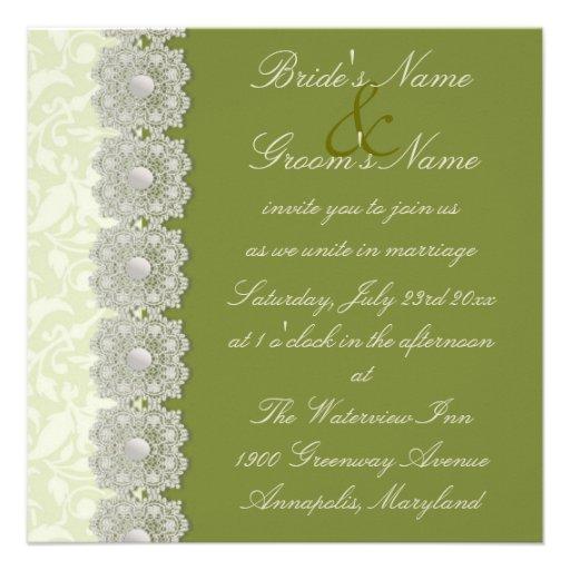 Invitación del boda del verde de musgo del cordón