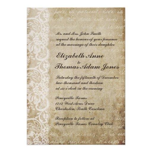 Invitación del boda del Viejo Mundo del cordón del