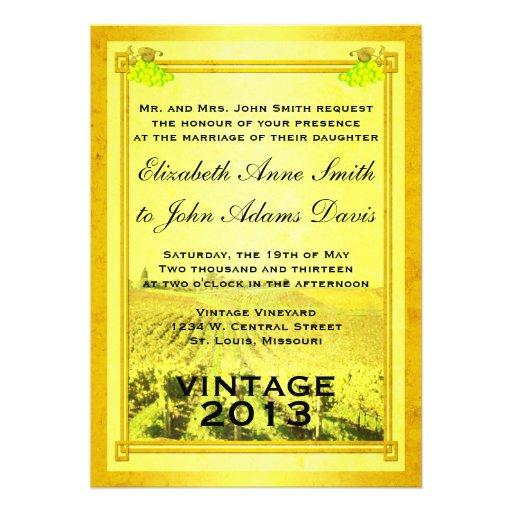 Invitación del boda del viñedo del vino blanco del