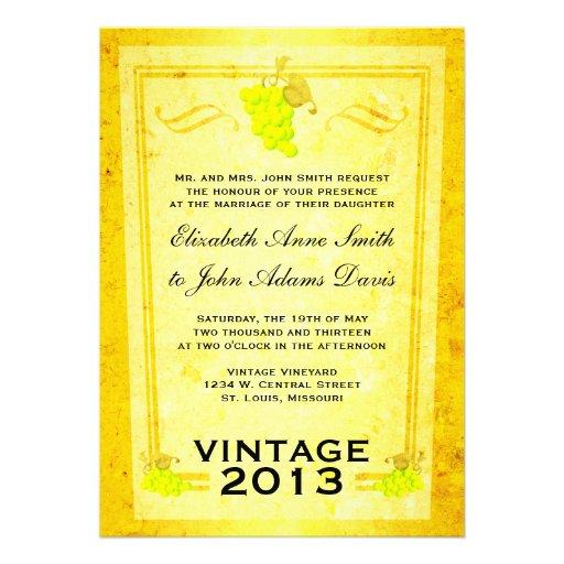 Invitación del boda del vino blanco del vintage