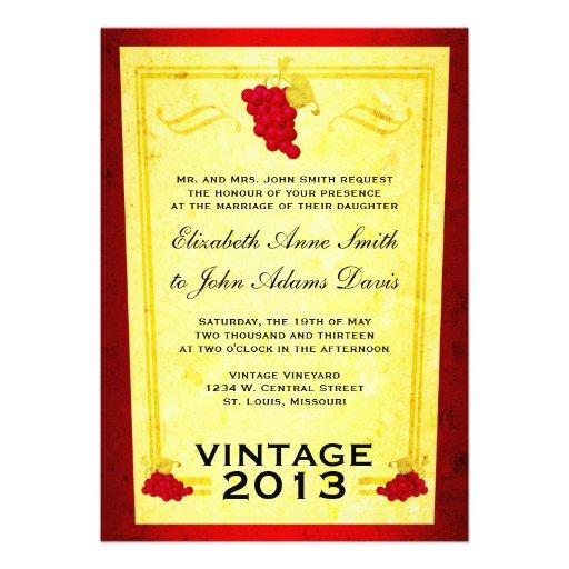 Invitación del boda del vino rojo del vintage