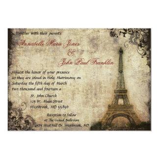 Invitación del boda del vintage de la torre Eiffel Invitación 12,7 X 17,8 Cm