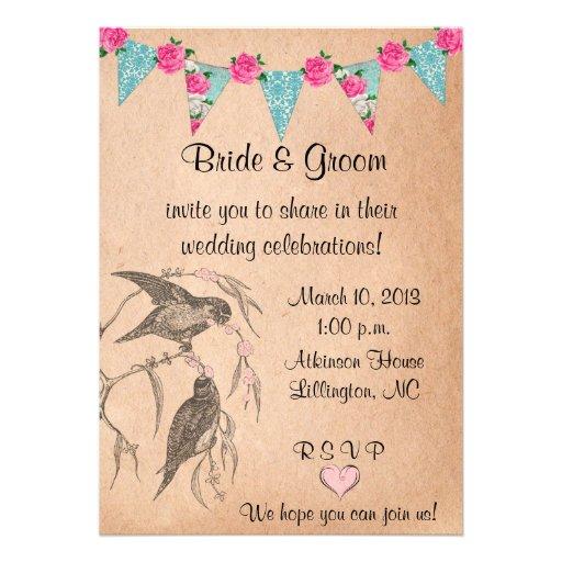 Invitación del boda del vintage de los pájaros del