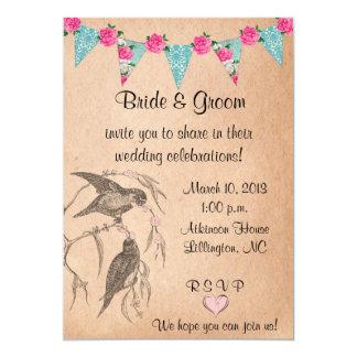 Invitación del boda del vintage de los pájaros del invitación 12,7 x 17,8 cm