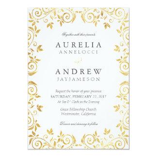Invitación del boda del vintage del oro