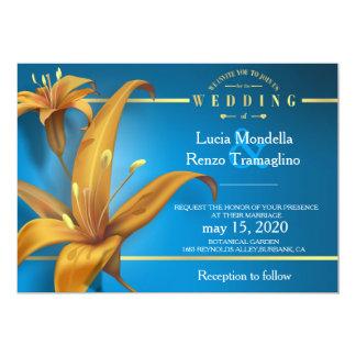 invitación del boda en azul con diseño del lirio
