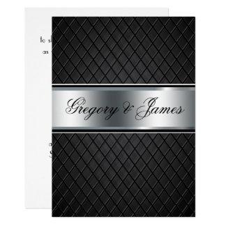 Invitación del boda, negro y de plata elegantes