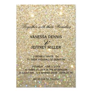 Invitación del boda - oro Glit fabuloso y dos