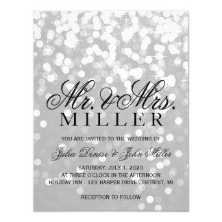 Invitación del boda - plata chispeante del gris de
