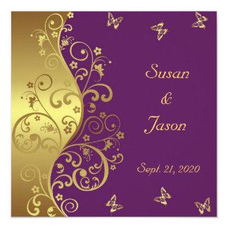Invitación del boda--Remolinos del oro y violeta