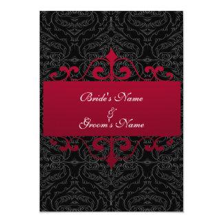 Invitación del boda - rojo y negro
