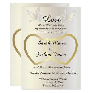 Invitación del boda - tema de oro de los corazones