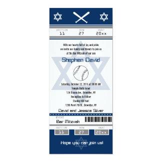 Invitación del boleto del béisbol de Mitzvah de la