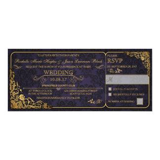 Invitación del boleto del boda del Victorian con
