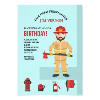 Invitación del bombero y del equipo