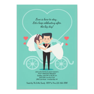 Invitación del brunch del boda del poste del carro