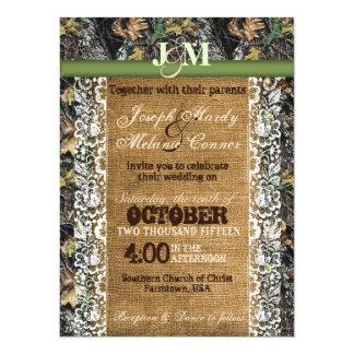 Invitación del camuflaje con arpillera y cordón