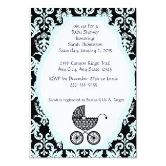 Invitación del carro de bebé del damasco - azul