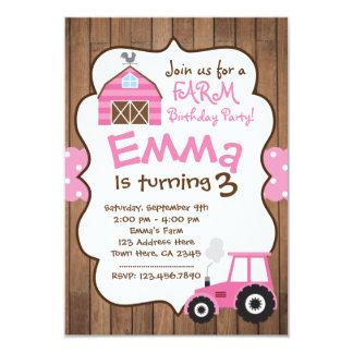 Invitación del chica de granja, corral rosado y