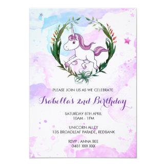 Invitación del chica del cumpleaños del unicornio