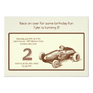 Invitación del coche de carreras del vintage invitación 12,7 x 17,8 cm