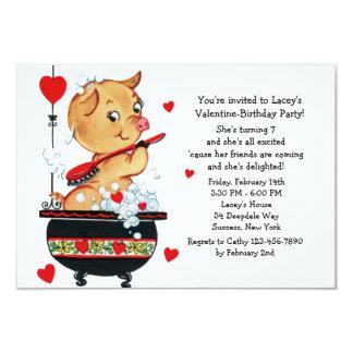 Invitación del cochinillo de la tarjeta del día de