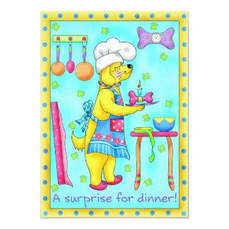 Invitación del cocinero del perro invitación 12,7 x 17,8 cm