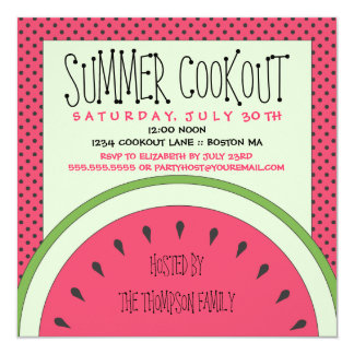 Invitación del Cookout del verano de la sandía Invitación 13,3 Cm X 13,3cm
