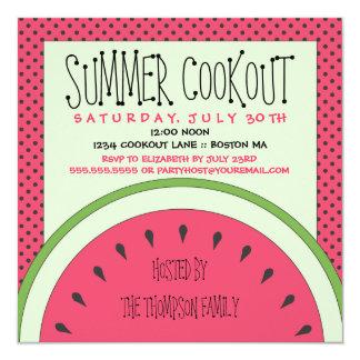Invitación del Cookout del verano de la sandía