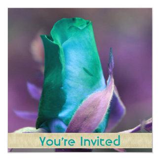 Invitación del cuadrado de la flor del capullo de