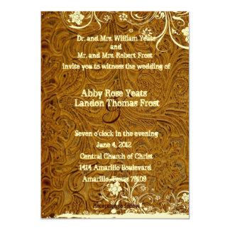 Invitación del cuero y del boda del cordón