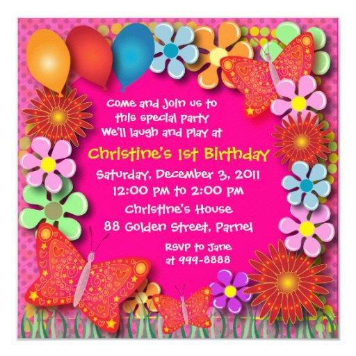 Invitación del cumpleaños: 003 mariposas y flores