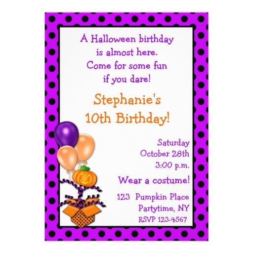 Invitación del cumpleaños de Halloween