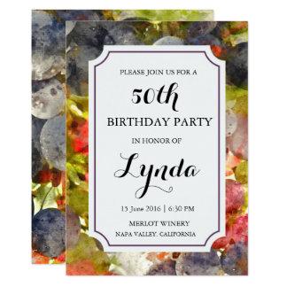 Tarjeta Invitación del cumpleaños de la acuarela del lagar