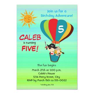 Invitación del cumpleaños de la aventura del balón invitación 12,7 x 17,8 cm
