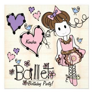Invitación del cumpleaños de la bailarina de Prima