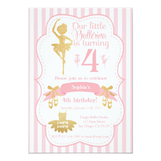 Invitación del cumpleaños de la bailarina en rosa