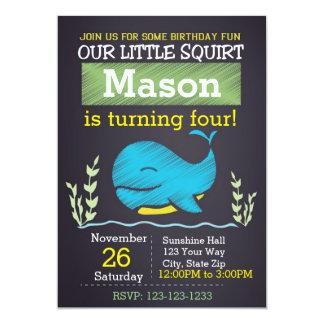 Invitación del cumpleaños de la ballena (muchacho)