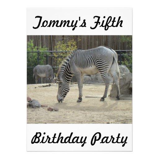 Invitación del cumpleaños de la cebra