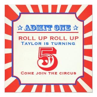 Invitación del cumpleaños de la feria de diversión invitación 13,3 cm x 13,3cm