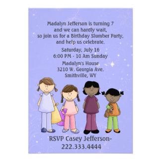 Invitación del cumpleaños de la fiesta de pijamas