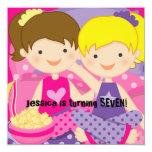 Invitación del cumpleaños de la fiesta de pijamas invitación 13,3 cm x 13,3cm