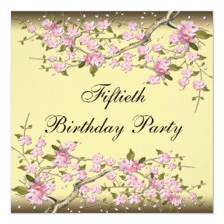 Invitación del cumpleaños de la flor de cerezo del