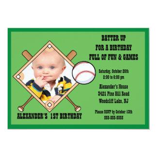 Invitación del cumpleaños de la FOTO del béisbol Invitación 12,7 X 17,8 Cm