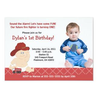 Invitación del cumpleaños de la foto del bombero